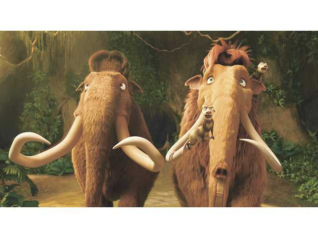 "Manny (Ray Romano) and Ellie (Queen Latifah) from ""Ice Age: Dawn of the Dinosaurs."" The film, which opened Wednesday, also offers the voice talents of John Leguizamo, Denis Leary, Simon Pegg and Kristen Wiig. The film is available in 3-D and 2-D showings in the Santa Clarita Valley."