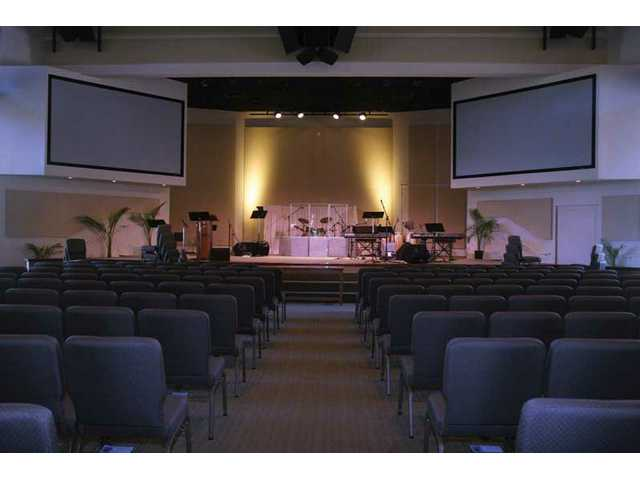 The interior of Faith Community Church's new sanctuary. The state-of-the-art structure includes digital multimedia video and audio technology.
