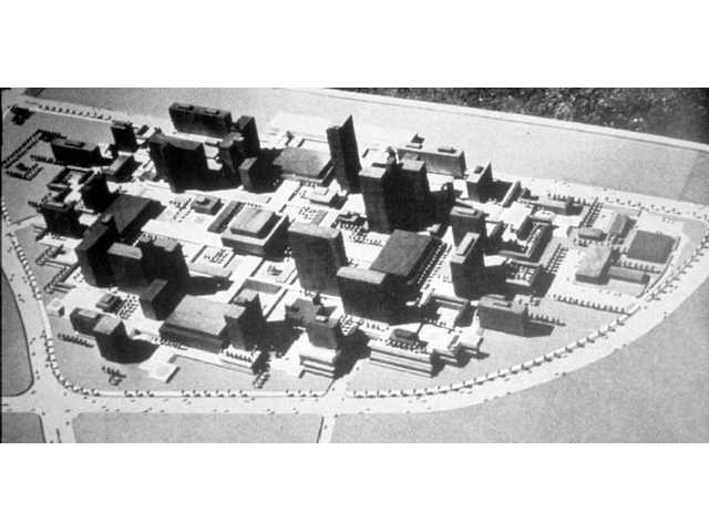 This model from the 1960s shows one concept for the proposed civic center in Valencia, to be located at McBean Parkway and Valencia Boulevard. Valencia Boulevard hadn't yet been constructed, and the roads shown don't correspond to those at the location now.