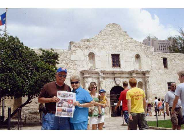 Kevin Eliason and Barbara Switzer of Santa Clarita took The Signal with them to San Antonio, where they visited the Alamo.