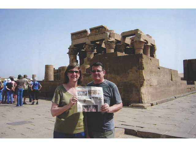 Tom and Linda McCoy's Signal was with them at the Temple of Kom Ombo, one of the stops along their Nile River cruise from Luxor to Aswan, Egypt. Their trip included viewing artifacts from Tutankhamun's tomb, a visit to the Sphinx and a camel ride to the pyramids of Giza.
