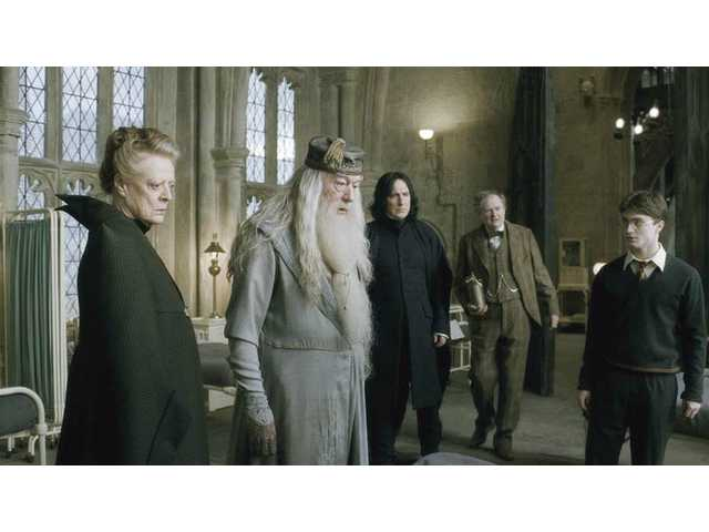 "Left to right, Maggie Smith as Professor Minerva McGonagall, Michael Gambon as Professor Albus Dumbledore, Alan Rickman as Professor Severus Snape, Jim Broadbent as Professor Horace Slughorn and Daniel Radcliffe as Harry Potter in a scene from ""Harry Potter and the Half-Blood Prince."""