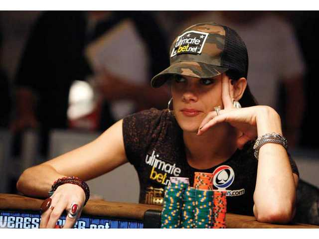 Tiffany Michelle plays in main event during the World Series of Poker at the Rio casino in Las Vegas on Monday.