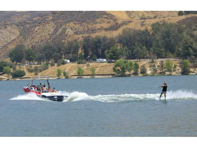 Wake boarders fly over Castaic