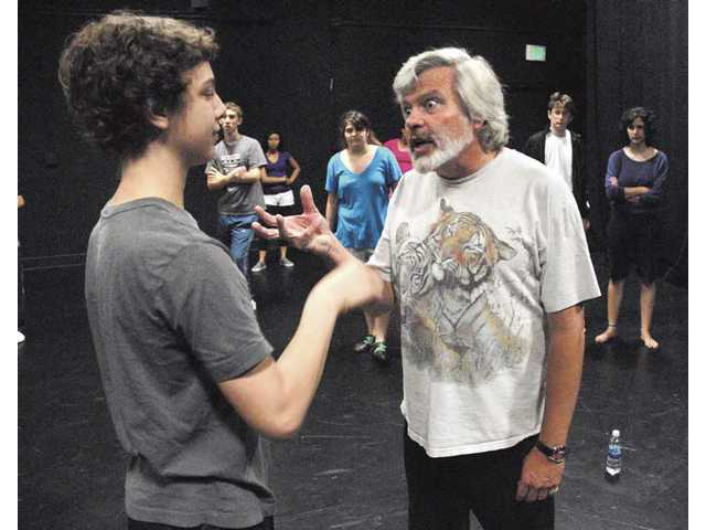 California Institute of the Arts instructor Michael Fields, right, coaches Max Wortman on the elements of physical comedy as part of the CalArts InnerSpark summer arts program for high school students on Wednesday. The program teaches students from all over the world.