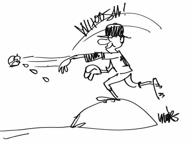 Randy Wicks,former award-winning cartoonist for The Signal newspaper, drew this picture of Andrew Lorraine while the pitcher was attending Hart High School.