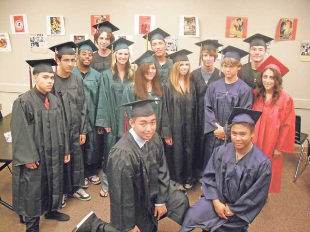 The ceremony was for seniors who finished their final credit requirements during the summer. The students were from Hart, Canyon, Saugus and Golden Valley high schools and wore caps and gowns from their respective school sites. Names of the graduates, not in order depicted, are: Christopher Klaren, Brittney Langston and Brian Waldeck from Golden Valley High School; Harrison Himes-Winter and John Lopez from Saugus High School; Hector Avila, Mahealani Blas Reed, Amanda Johnson and Breon Johnson from Canyon High School; and Carlos Gonzalez, Christian Miranda, Lisa Montero, Dreyson Stoup and Kevin Tani from Hart High School.