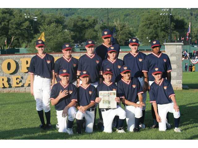 The Santa Clarita Redhawks went to Cooperstown Dreams Park in Cooperstown, N. Y. from July 4-10. Front row, from left: Kyle Merkel, Ryan Beddeo, Jagger Rusconi, Dayton Provost, Andrius Polikaitis. Second row, from left: Ryan Eaton, Cody Miller, Austin Russ, Joey Lau, Jake Eaton, Devon Davis. Back row: Davis LeBarron.