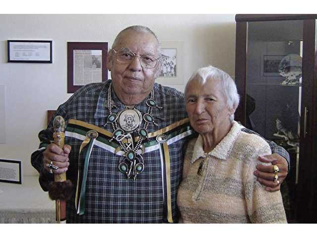 Rudy Ortega Sr. puts his arm around Alice Lyon Carillo at the San Fernando museum in 2005. Ortega Sr. died July 28 in a car crash.