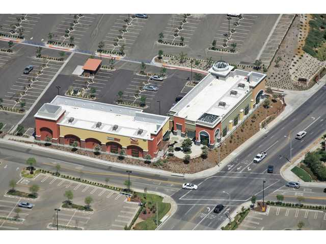 An aerial shot of Centre Pointe Village shows the 15-acre retail project in Canyon Country. Construction on the village finished recently and is home to businesses like Dick's Sporting Goods and Babies R Us.