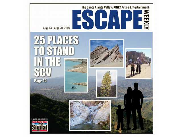 Escape presents 25 locations in the SCV where your family can stand and enjoy the ambiance. (Top center) Vasquez Rocks Natural Area, (right) Main Street, Cowboy Festival, (bottom) Whitney Canyon waterfall, (left) Castaic Lake, (center) a yucca in bloom.