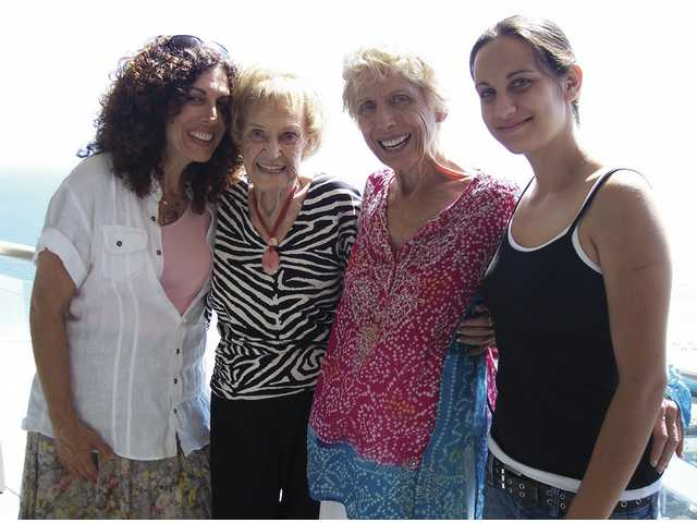 From left to right, Wendy Poore, Fay Huebsch, Sally More and Megan Poor - four generations celebrate Fay's 100th birthday.