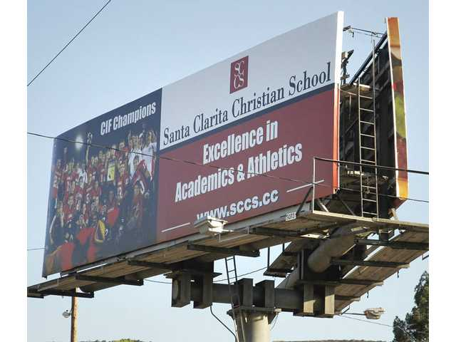 Canyon Country's Santa Clarita Christian School purchased a billboard advertisement recently that displays its 2008 CIF-Division I 8-Man Football championship team.