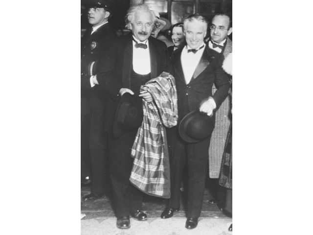 "Albert Einstein (left) and Charlie Chaplin at the Hollywood premier of Chaplin's movie ""City Lights"" in 1931."