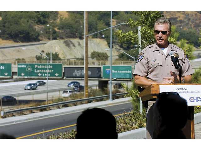 CHP Newhall Station Capt. Mark Odle marked the ceremonial groundbreaking Monday of a new elevated carpool lane in the Newhall Pass.