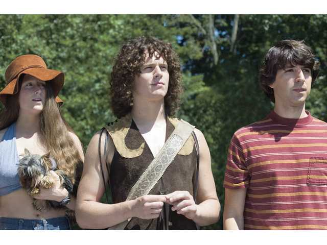 "Mamie Gummer (left), Jonathan Groff (center) and Demetri Martin (right) star in ""Taking Woodstock."""