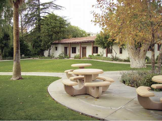Tesoro Adobe Historic Park offers open, grassy areas that are perfect for picnicking and special outdoor events. The main house (shown here) and outbuildings were originally built by Western actor Harry Carey.