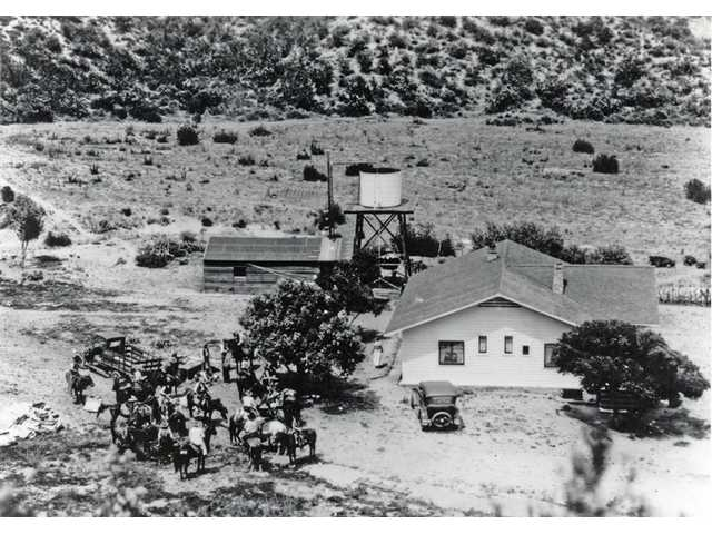 A 1920s aerial view of the main house on the Carey ranch
