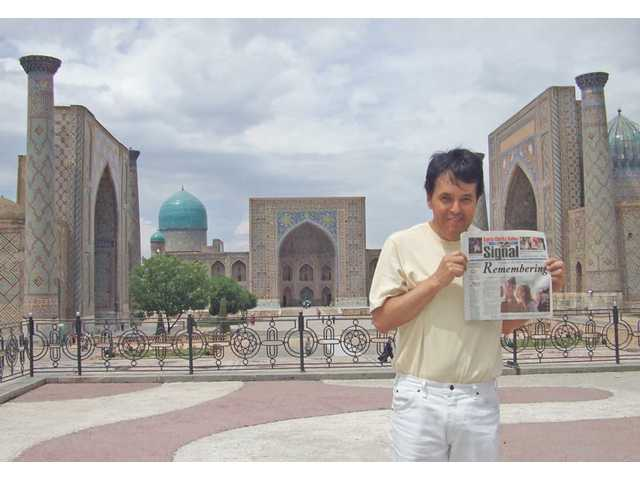 David Valdivieso stands in front of the Gur Emir mausoleum in Samarkand, Uzbekistan, in May. He visited his girlfriend, Malika Ishkmuhamedova, who took the photo.
