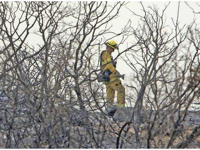A firefighter rests between burned bushes near Aliso Canyon Road in Acton Monday afternoon. The Station Fire burned close to some homes on the road Sunday night.