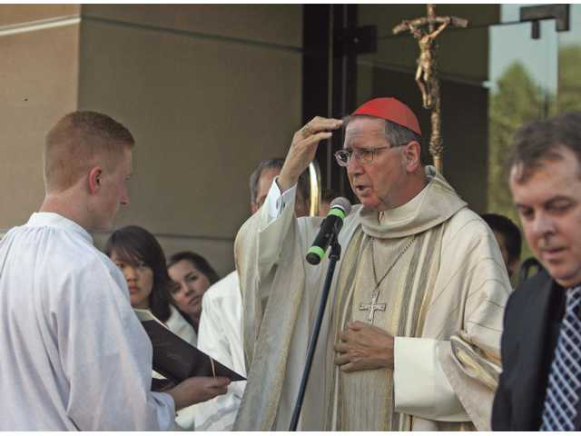 Cardinal Roger Mahony celebrates the dedication ceremony at the new parish Friday.