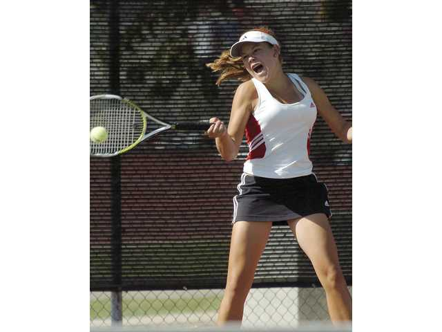 Hart sophomore Anne Susdorf is one of the top singles tennis players in the Foothill League. Hart, which finished second, has a young team with six sophomores.