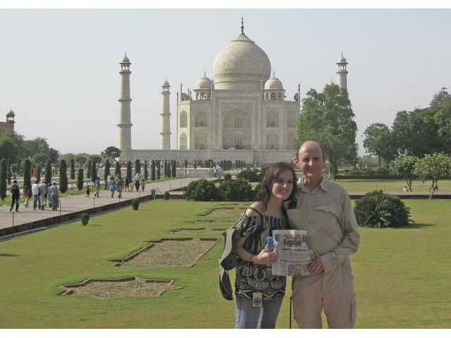 Valerie, left, and David Neill in Agra, India, at the Taj Mahal in June. The photo was taken by Nancy Neill. The family enjoyed a two and a half week tour of India.