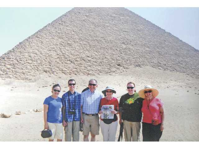 Left to right, Christine, Nathan, Ken and Marj Carroll, of Saugus, with friends Rachel and Suzanne Barsness, of Seattle, Wash., in front of the Red Pyramid. The group enjoyed a 12-day tour of Egypt in July.