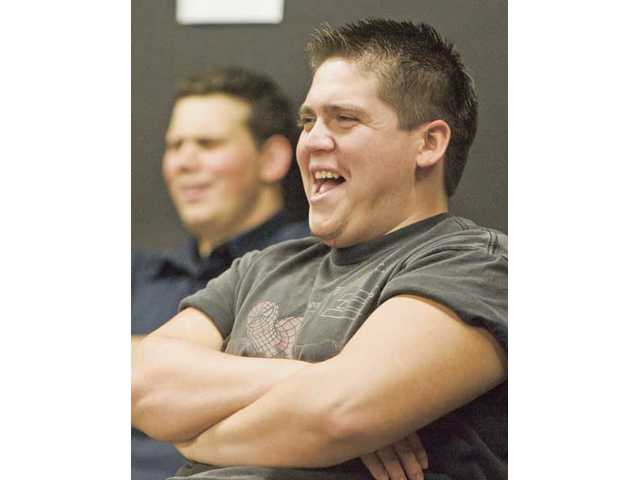 Alex Veloz laughs at an improv exercise during his class at College of the Canyons on Monday afternoon.