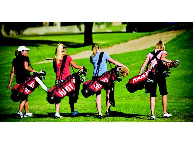 Hart's varsity girls golf team, above, shown in file photo. The Indians shot a 206 to win the Foothill League title, led by freshman Kendall Dusenberry and Amanda Corr's 39, being name co-medalists with the lowest round.