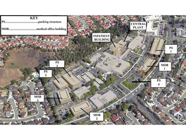 If Henry Mayo Newhall Memorial Hospital expanded as outlined in its master plan, this is what the campus would look like from the air at  project's completion.