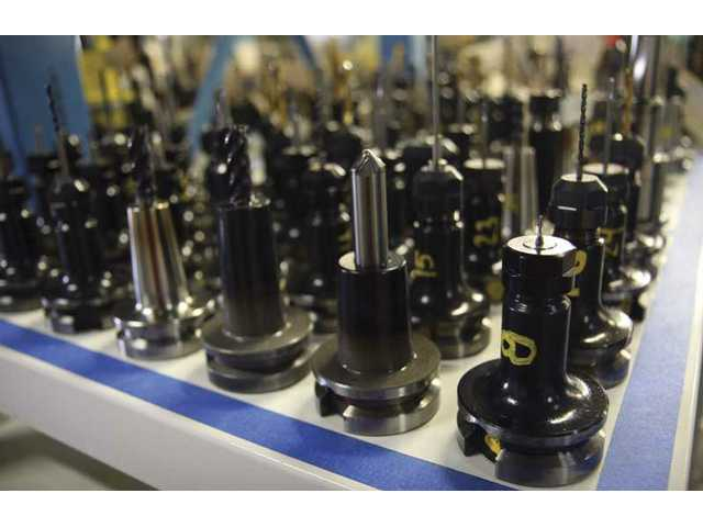 B & B Manufacturing uses several different drill bits to make holes and grooves of the finalized aircraft engines in which the company specializes.