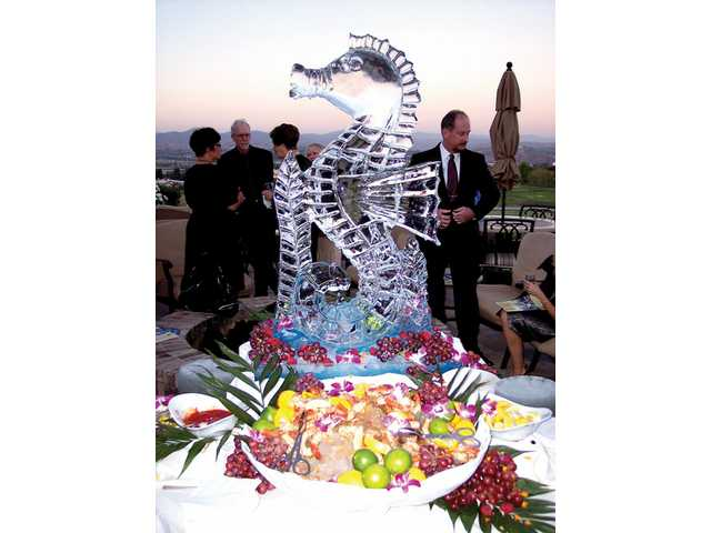 The seafood station featured a seahorse ice sculpture.