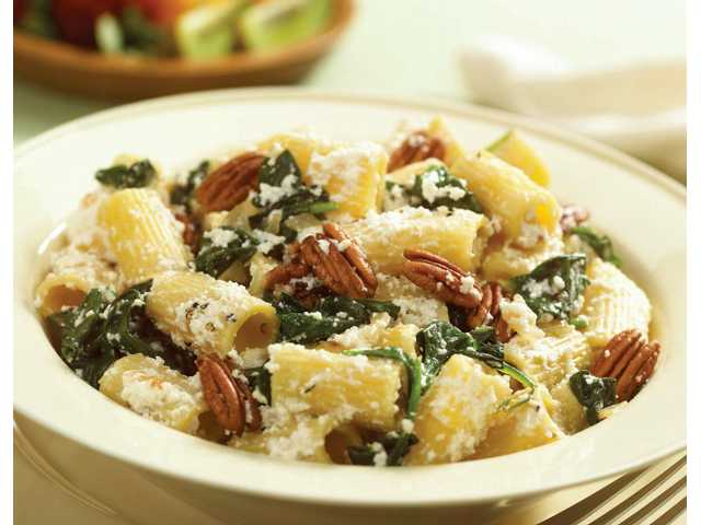 Warm Pasta Salad with Pecans and Spinach