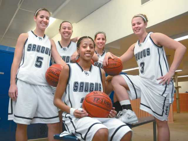 Saugus High's starting five of (back row from left to right) Breann Wilson, Lauren Labat, Danielle Mofsowitz, Gabrielle Conn and (front) Nicole Hicks have carried the load in the Centurions' 17-3 start to the season. Saugus is in the first place 4-0 in Foothill League play.
