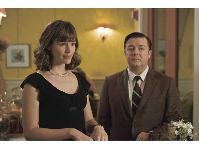 "Jennifer Garner, left, and Ricky Gervais are shown in a scene from Warner Bros.' ""The Invention of Lying."""