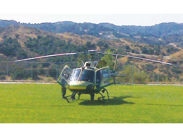 A sheriff's helicopter made an emergency landing at the Dr. J. Michael McGrath Elementary School field in Newhall on Wednesday afternoon. The helicopter suffered mechanical problems.
