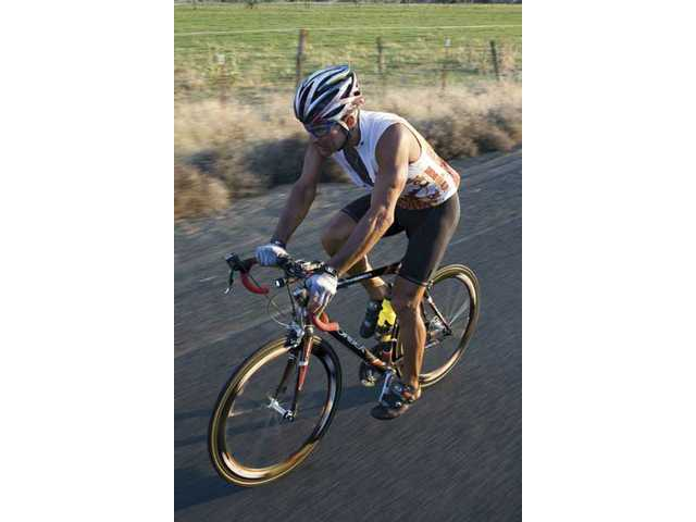 Ultracyclist Vinnie Tortorich trains for the Furnace 508 race starting in the Santa Clarita Valley Saturday morning. Totorich, battling leukemia, is raising money forothers affected by life-threatening diseases.