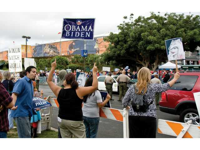 Protesters line up outside of the Home Depot Center in Carson after Sarah Palin's campaign stop Saturday in Carson.