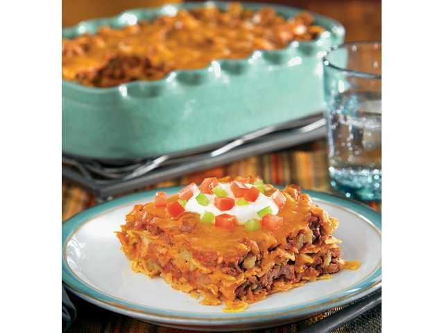 Taco casserolePrep Time: 10 minutes / Start to finish: 30 minutesMakes: 8 servingsCasserole1 pound lean ground beef1/2 cup chopped onion1 bottle (8 ounces) Ortega Taco Sauce3/4 cup water1 can (4 ounces) Ortega Fire-Roasted Diced Green Chiles1 packet (1.25 ounces) Ortega 40% Less Sodium Taco Seasoning Mix1 package (12-count) Ortega Whole Grain Corn Taco Shells, broken, divided2 cups (8 ounces) shredded cheddar cheese, dividedChopped tomatoes, chopped green bell pepper, sour creamPreheat oven to 375°F. Grease 11 x 7-inch baking dish.Cook beef and onion in large skillet over medium heat, stirring occasionally, until beef is browned. Drain and discard excess fat.Stir in taco sauce, water, chiles and seasoning mix; bring to a boil. Reduce heat to low. Cook 3 to 4 minutes, stirring occasionally.Layer half of broken taco shells on bottom of prepared baking dish. Cover with half of meat mixture; sprinkle with 1 cup cheese. Repeat layers with remaining ingredients.Bake 20 to 25 minutes or until bubbly and cheese is melted. Serve with desired toppings.