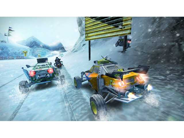 "A scene from ""Motorstorm: Arctic Edge"" is shown. This is one of two full-featured racing games being released by Sony to coincide with the PSP go's launch. The games' snow-packed off-road courses are eye-catching."