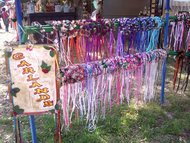 There's much to buy at the Renaissance Pleasure Faire and garlands for your hair come in a myriad of colors.