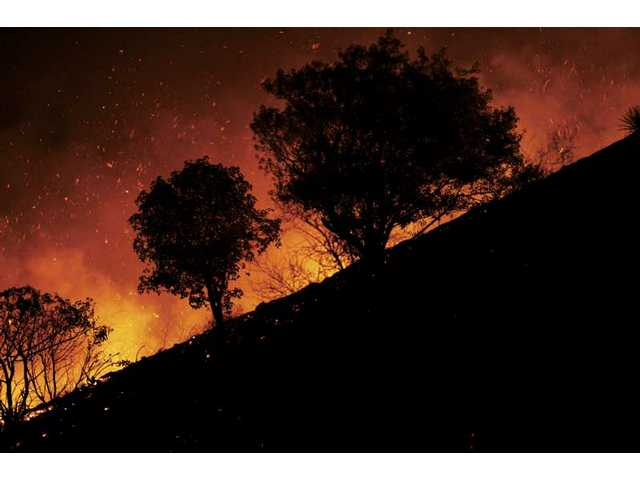 Bushes and trees are surrounded by flames and hot embers as Santa Ana winds picked up Monday night near Porter Ridge Park off Sesnon Boulevard in Porter Ranch.