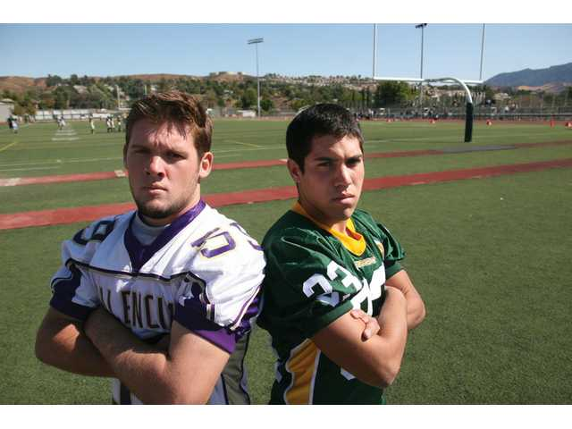 Andrew LaVoise of Valencia High and Canyon's Nate Marroquin are linebackers for their respective squads. Both teams face off tonight in the Foothill League kickoff at Canyon.