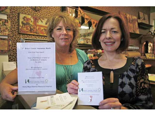 Ma Maison employees Kathy Perkins, left, and Claire Morissette show the breast cancer pins, which are on sale at the gift shop for $5.