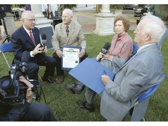 "Members of the original Santa Clarita City Council in December 1987 - from left, Congressman Howard P. ""Buck"" McKeon, Dennis Koontz, Jo Anne Darcy and Carl Boyer - each give an oral account of how the Council was first established. The founders were honored at a dedication ceremony at Veteran's Historical Plaza on Monday."