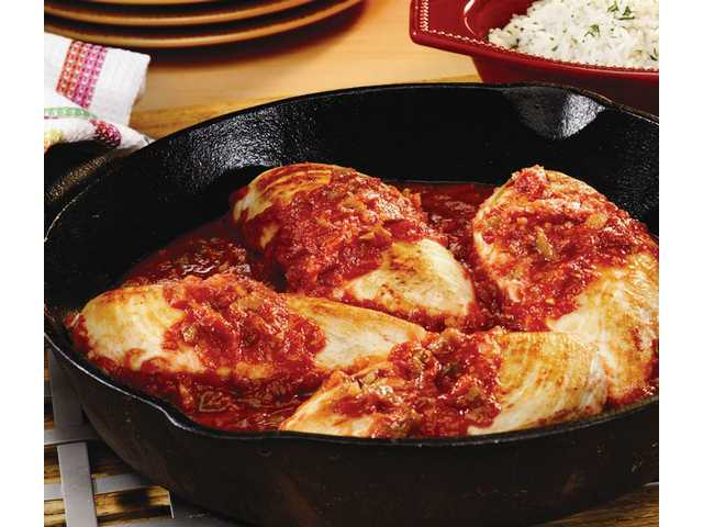 Picante Skillet ChickenPrep Time: 5 minutesCook Time: 15 minutesMakes: 6 servings 1  tablespoon vegetable oil 1 1/2  pounds skinless, boneless chicken breasts (4 to 6) 1  jar (16 ounces) Pace Picante sauce 6  cups hot, cooked regular long-grain white rice1. Heat oil in 10-inch skillet over medium-high heat. Add chicken and cook for 10 minutes or until well browned on both sides.2. Add picante sauce to skillet. Heat to a boil. Reduce heat to medium. Cover and cook for 5 minutes or until chicken is cooked through.3. Serve with rice.