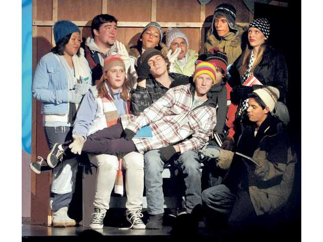 "Saugus High School students play a group of high school friends that huddle in a cabin during a blizzard as they present a play entitled ""Snow Angel"" for the students at Arroyo Seco Junior High School on Oct. 24"