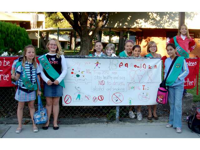 Girl Scouts create Red Ribbon Week banner