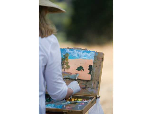 Wambsgans develops her painting of local open space.